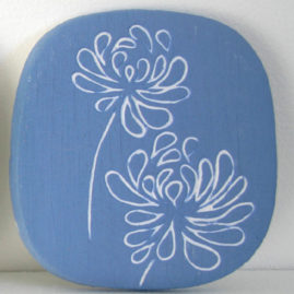 blue slip tile with scrafitto pattern