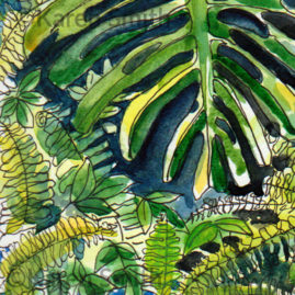 Palm House Watercolour1 Detail - pen & watercolour