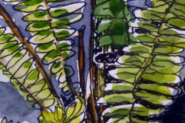 fern pen and watercolour wash