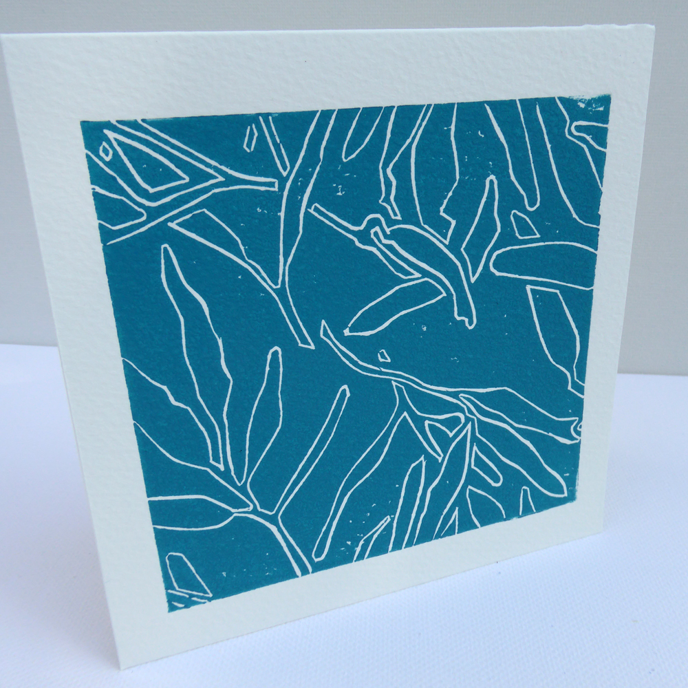 Gum Leaf Outline Greeting Card Lino Print Karen Smith