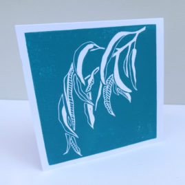 lino print gum leaves card
