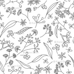 Gum Doodles Fabric Grey on white