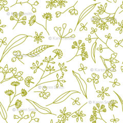 Gum Doodles Fabric Lime on white