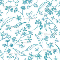 Gum Doodles Fabric Teal on white