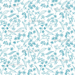 Gum Doodles Fabric Teal on white small scale