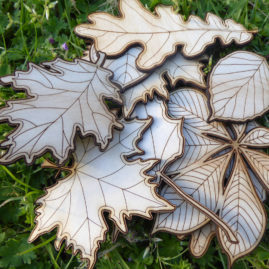 autumn leaves laser cut from plywood available for purchase at Etsy.com