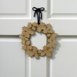 Plywood Holly Wreath-  available for purchase at Etsy.com