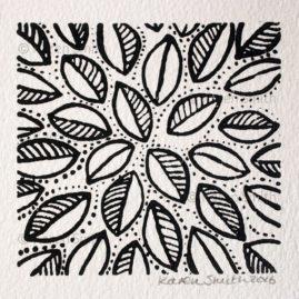 Wood Block Leaf Print 1
