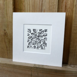 Wood Block Leaf Print