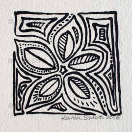Wood Block Leaf Print 4