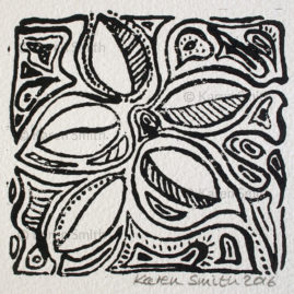 Wood Block Leaf Print 5
