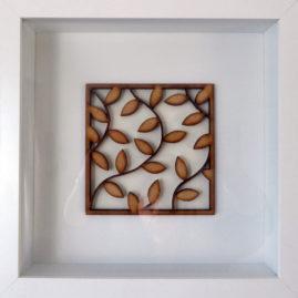 framed laser cut leaves pattern