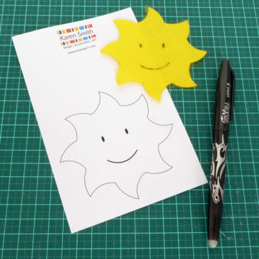 Smiling sun template, transferred to felt with friction pen