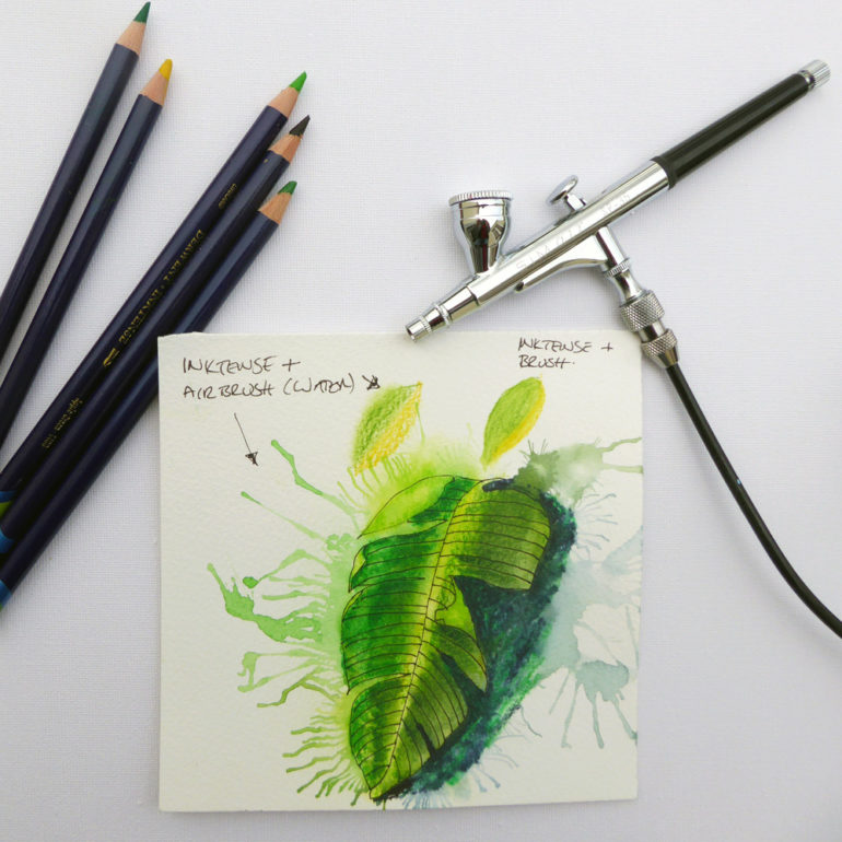 using Inktense pencils with an airbrush