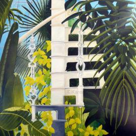 Palm House 1, acrylic on canvas 90cm x 90cm.