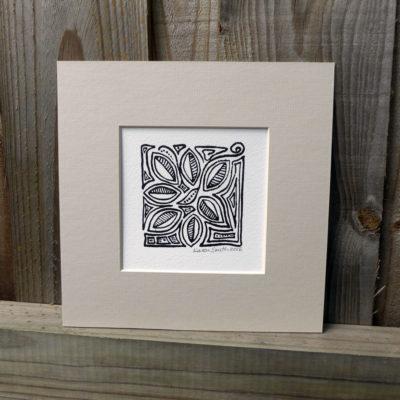 Mounted Woodblock Print - Leaf Scrolls