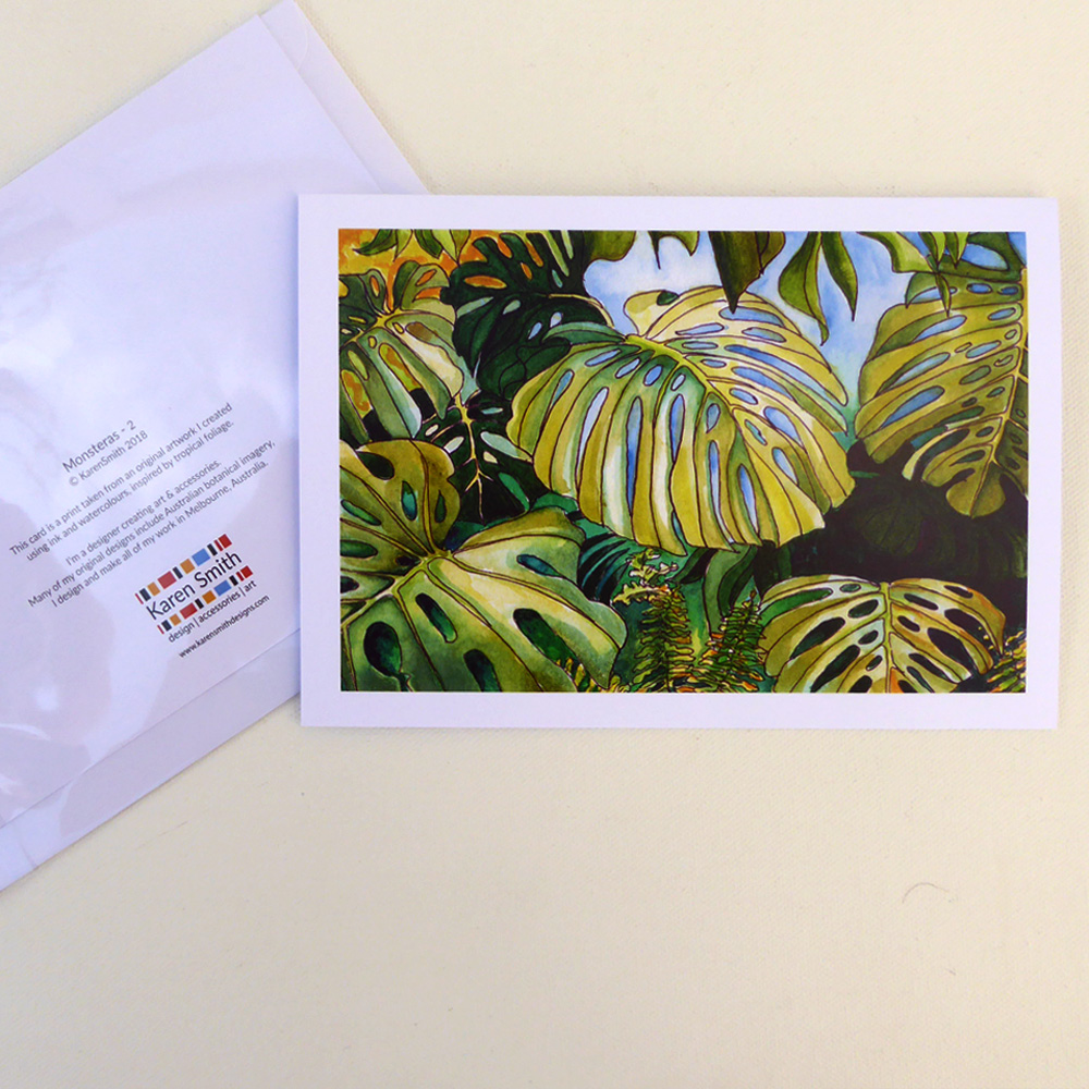 Tropical Leaf Greeting Card Monsteras Watercolour Design Karen Smith
