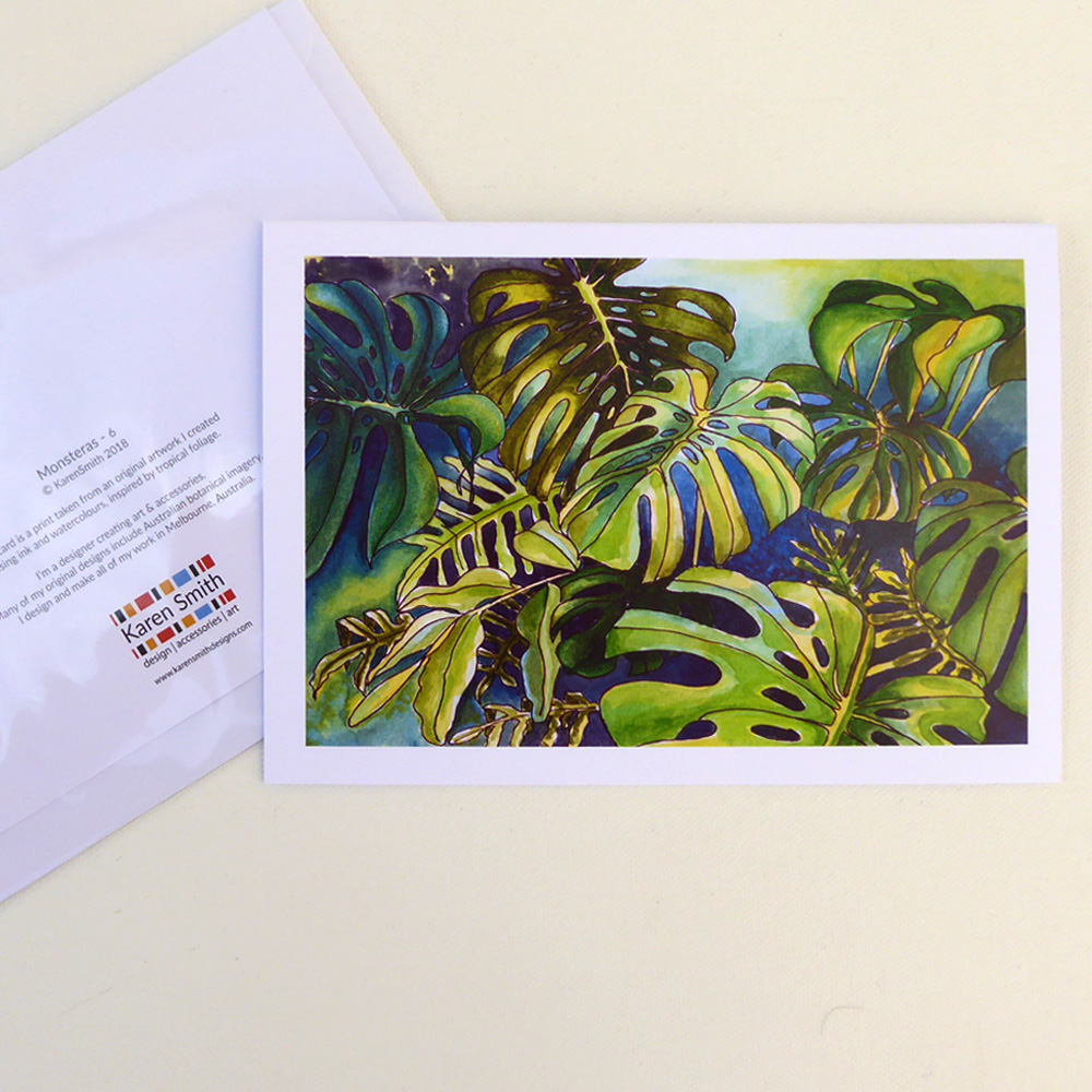 Tropical Leaf Greeting Card Monsteras Watercolour Design Karen Smith