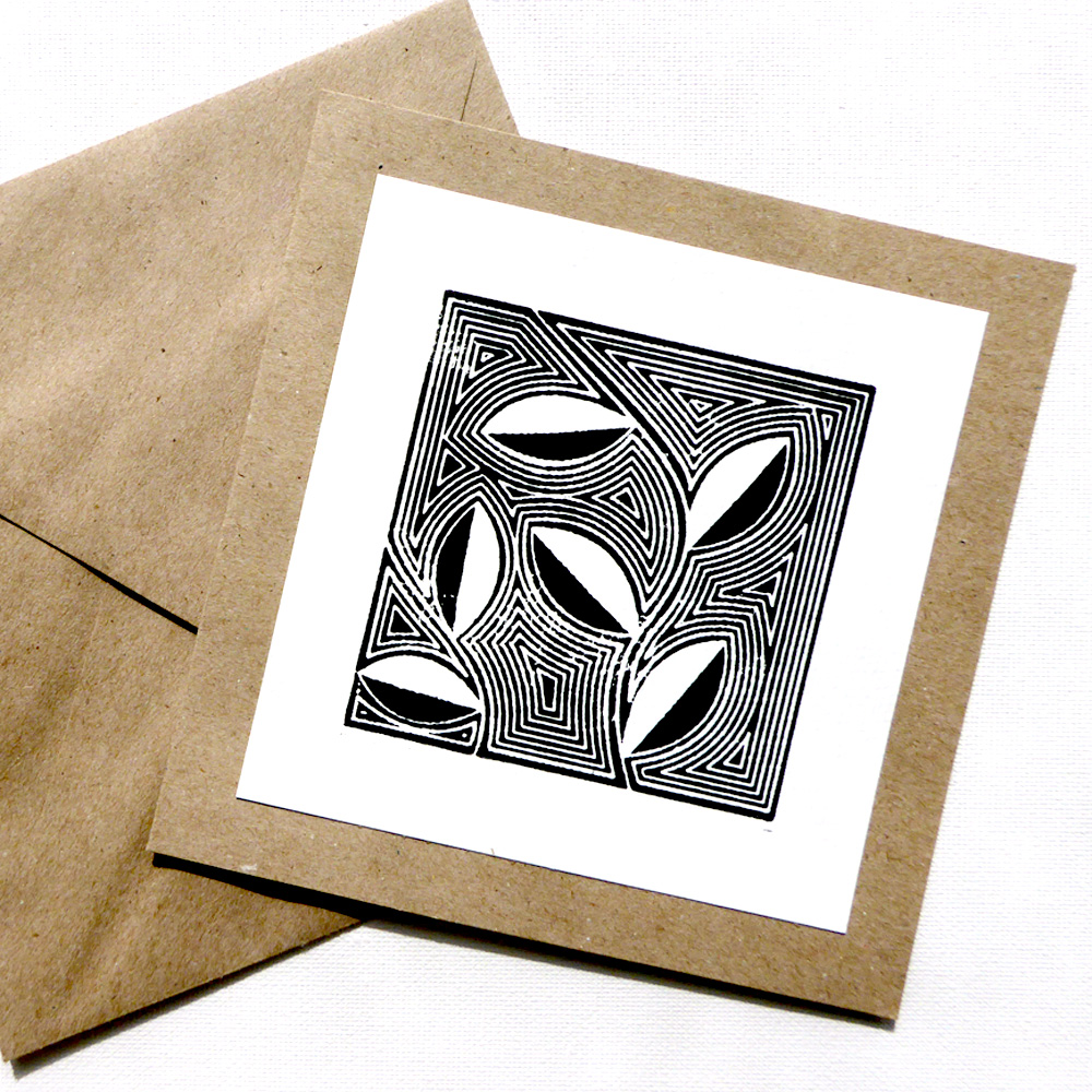 Woodblock Print Greeting Card