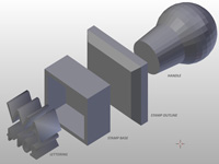Stamp components split apart in 3D program