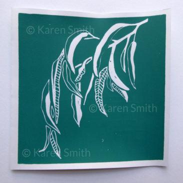 gum leaves lino print