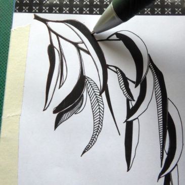 lino cut process - transferring design using carbon paper