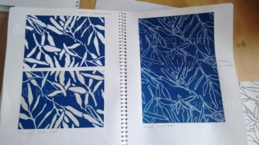 sketchbook - gum design lino print - repeat patterns
