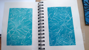 sketchbook - gum design lino print