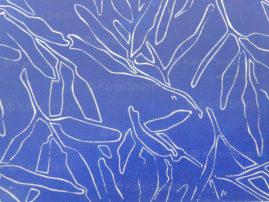 linocut botanic blue