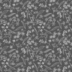 Gum Doodles Fabric Small Scale Grey