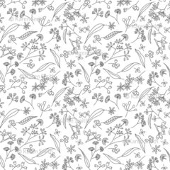 Gum Doodles Fabric Grey on white small scale