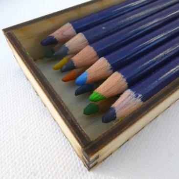 wooden box width fits 6 pencils