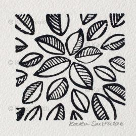 Wood Block Leaf Print 2