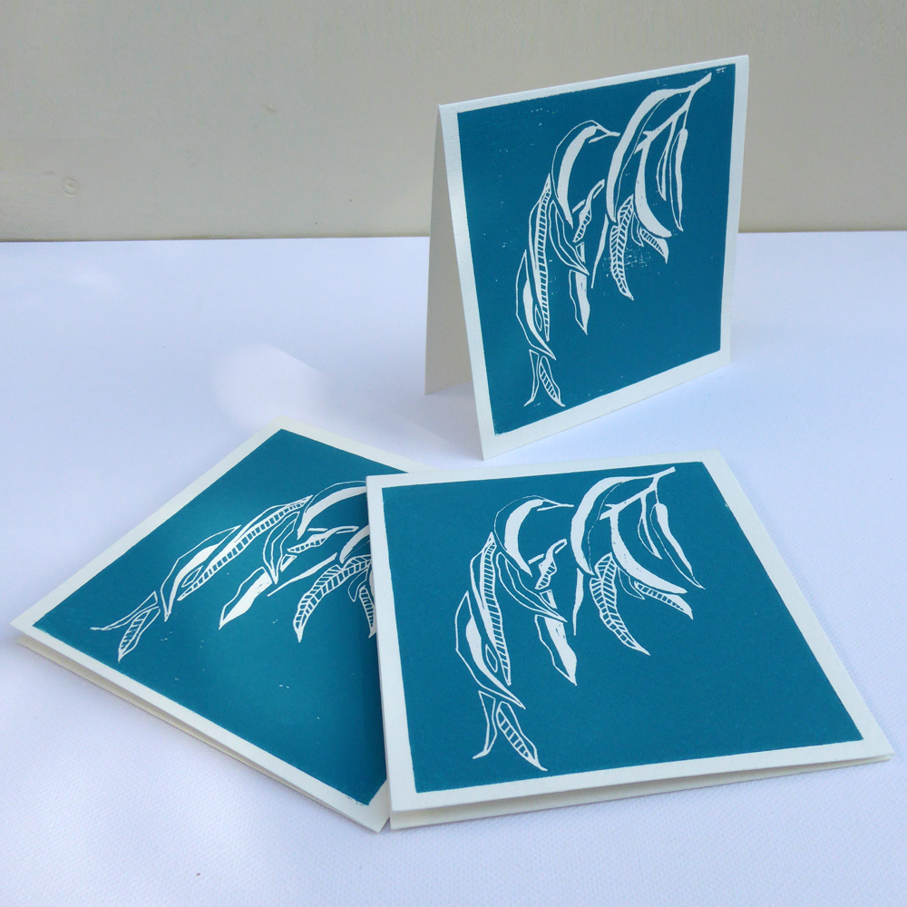 Hand lino printed card - Patterned Gum