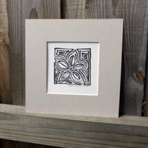 Mounted Woodblock Print -Five Leaves