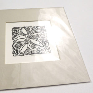 Mounted Woodblock Print - Leaf Swirl
