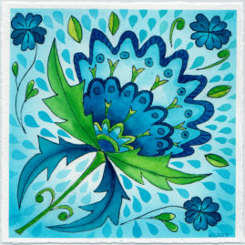 watercolour painting of blue floral designs by Karen Smith