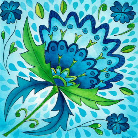 Jwatercolour painting of blue floral designs by Karen Smith