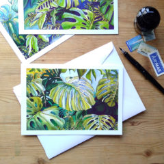 Tropical Leaf Greeting Card - Monsteras 2 ©KarenSmith
