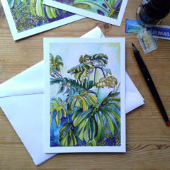 Tropical Leaf Greeting Card - Monsteras 4 ©KarenSmith