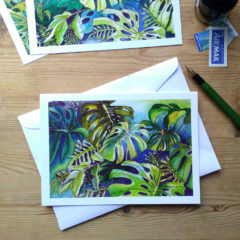 Tropical Leaf Greeting Card - Monsteras 6 ©KarenSmith
