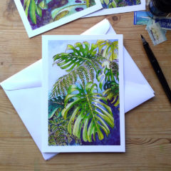 Tropical Leaf Greeting Card - Monsteras 7 ©KarenSmith