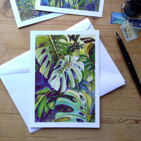 Tropical Leaf Greeting Card - Monsteras 8 ©KarenSmith