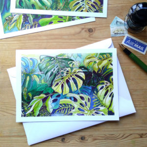 Tropical Leaf Greeting Card - Monsteras 9 ©KarenSmith