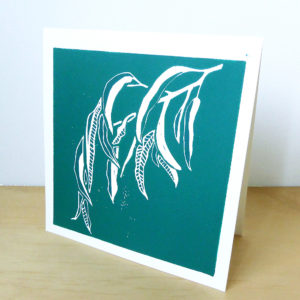 Gum Leaf Lino Print Card ©KarenSmith