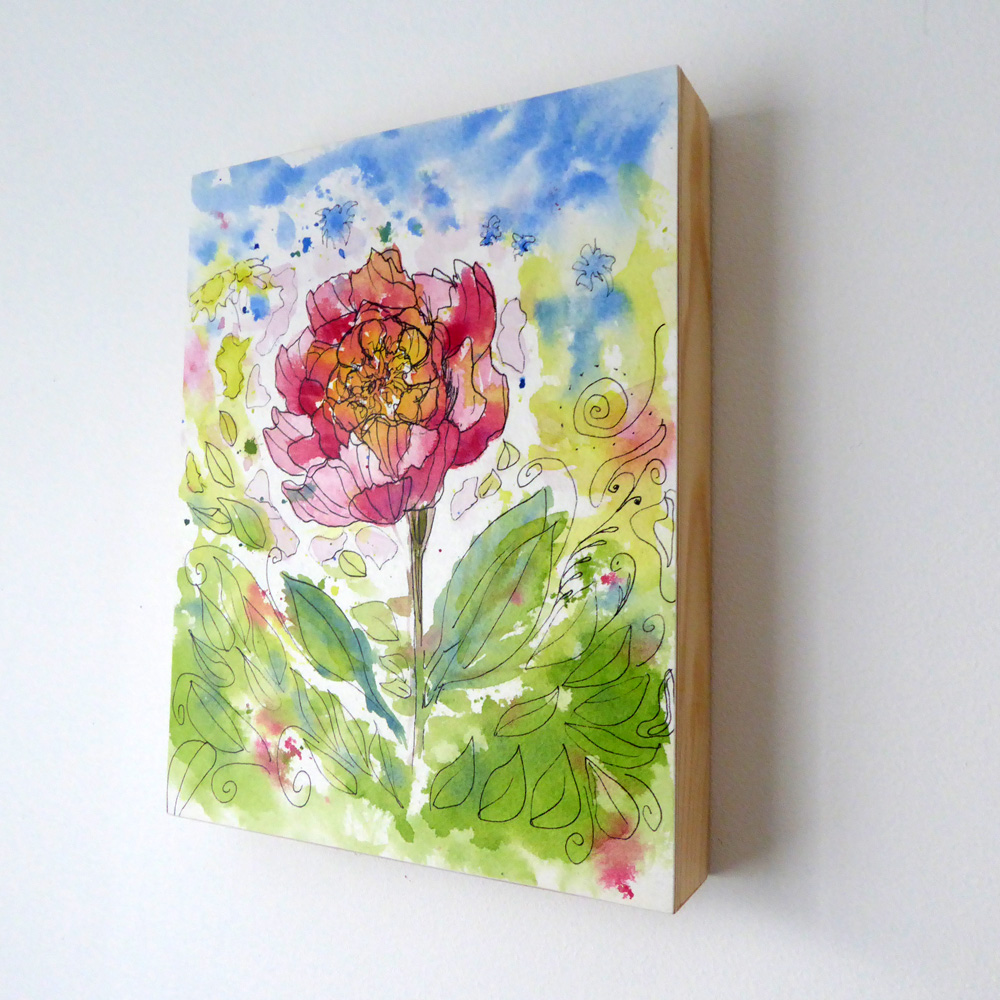 Pink Flower On Wood Frame ©KarenSmith