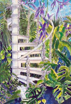 Palm House Stairs Watercolour ©KarenSmith
