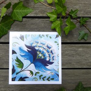 Blue Jacobean Christmas Card ©KarenSmith