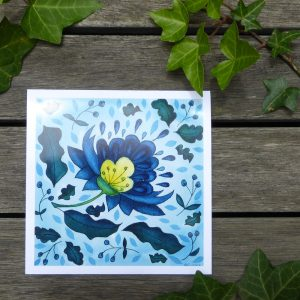 Blue Jacobean LeavesChristmas Card ©KarenSmith