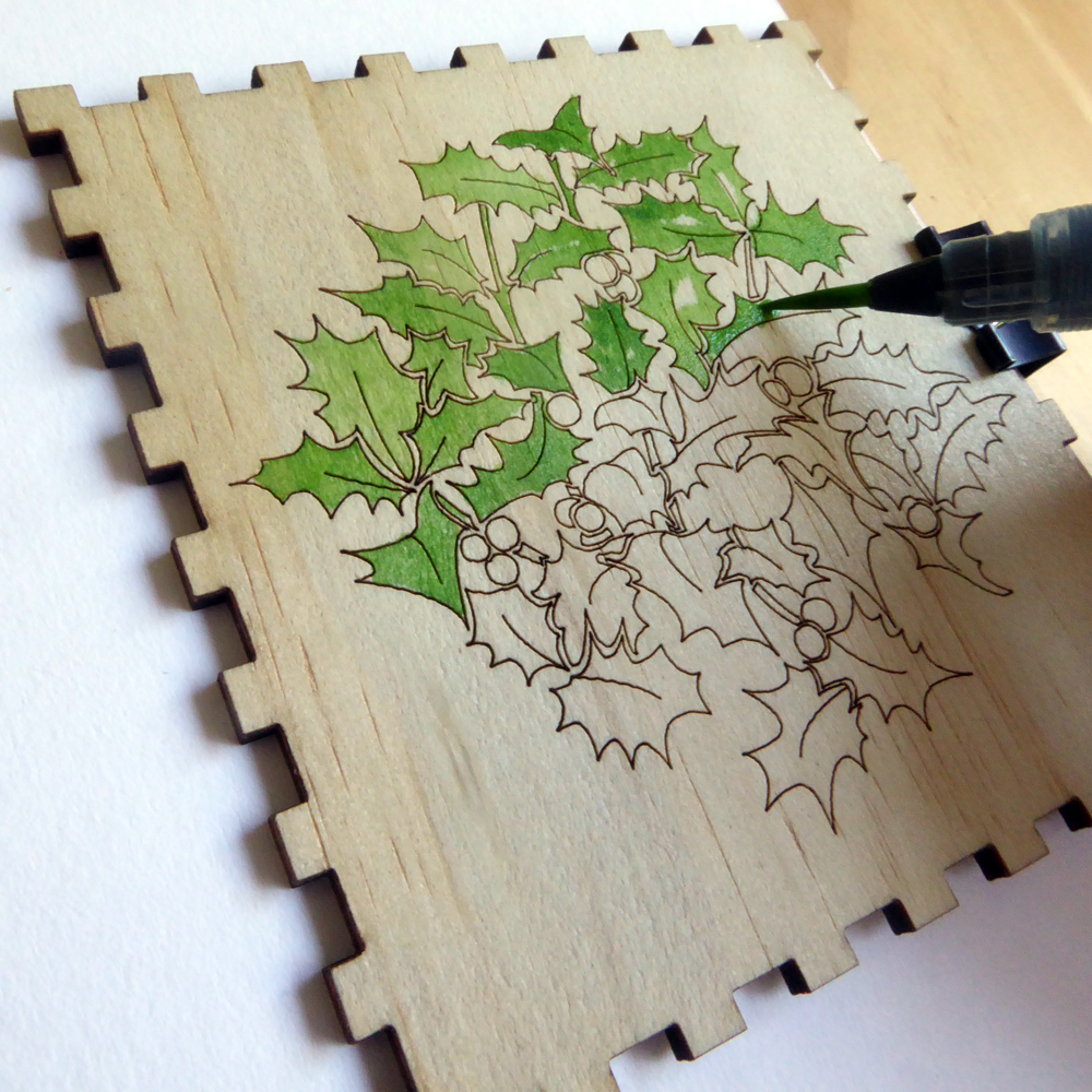 watercolour painting laser engraved plywood ©KarenSmith